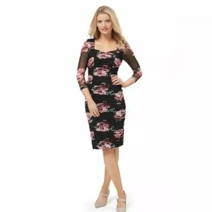 REVIEW TUSCAN ROMANCE BLACK FLORAL GATHERED DRESS